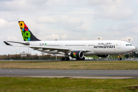 state owned: PARIS, FRANCE - MARCH 29: Afriqiyah Airways Airbus A330-202 taxis around CDG Airport on March 29, 2010. Afriqiyah Airways is a state-owned airline based in Tripoli, Libya. Editorial