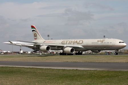PARIS, FRANCE - MARCH 29: Etihad Airways Airbus A340-642 taxis around CDG Airport on March 29, 2010. Etihad Airways is the flag carrier airline of the United Arab Emirates.