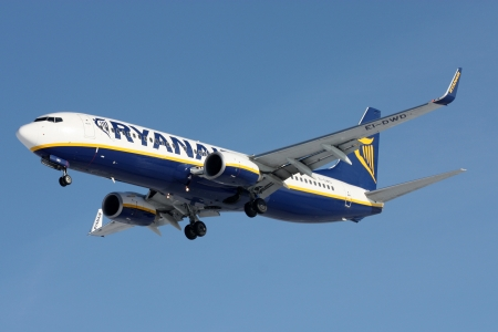 PRAGUE, CZECH REPUBLIC - FEBRUARY 14: Ryanair Boeing 737-8AS lands at PRG Airport on February 14, 2009. Ryanair is an Irish low-cost airline. Ryanair operates more then 300 Boeing 737-800 aircrafts.