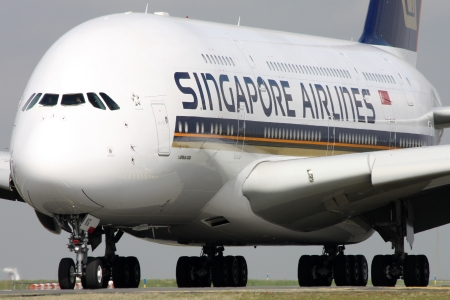 PARIS, FRANCE - MARCH 29: Singapore Airlines Airbus A380-841 taxis around CDG Airport on March 29, 2010. Singapore Airlines is the flag carrier of Singapore. It was the launch customer of Airbus A380