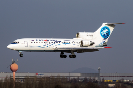 avia: PRAGUE, CZECH REPUBLIC - DECEMBER 15: Yakovlev Yak-42D Sar Avia - Saratov Airlines lands at PRG Airport on December 15, 2012. Saravia is an airline based in Saratov, Russia.