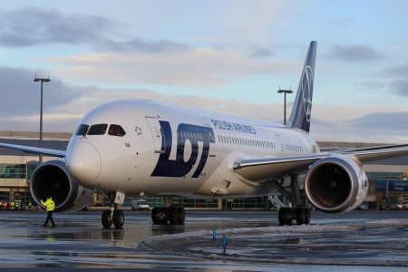 PRAGUE, CZECH REPUBLIC - DECEMBER 16: LOT Polish Airlines, Boeing B787 Dreamliner at Prague Airport on December 16, 2012. Polish Airlines, is the flag carrier of Poland. Based in Warsaw.