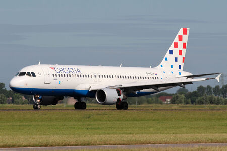 zagreb: AMSTERDAM - JULY 02: Croatia Airlines Airbus A320-214 lands at AMS Airport in Netherlands on July 02, 2012. Croatia Airlines is flag carrier of the Republic of Croatia. Based in Buzin in Zagreb. Editorial