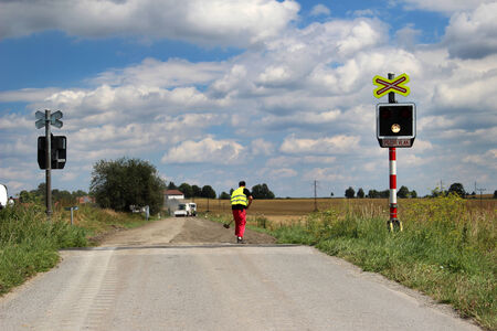 Road works for the railway crossing  photo