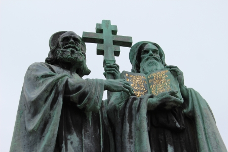 patron of europe: Bronze Statue of Saint Cyril and Methodius on Radhost, Czech Republic