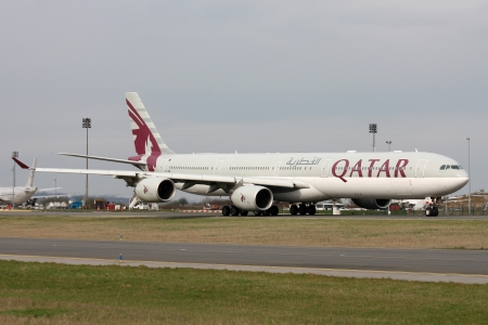 PARIS, FRANCE - MARCH 29: Qatar Airways Airbus A340-642 taxis around CDG Airport on March 29, 2010. Qatar Airways is the state-owned flag carrier of Qatar.