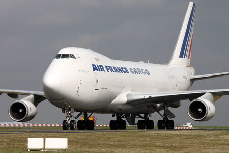 PARIS, FRANCE - MARCH 29: Air France Cargo Boeing 747-428F/ER/SCD taxis around CDG Airport on March 29, 2010. Air France is the French flag carrier. Editorial