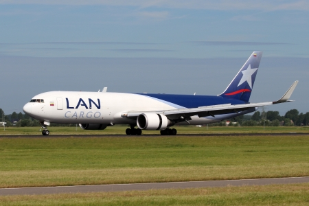 AMSTERDAM - JULY 02: LAN Airlines Cargo Boeing 767 lands at AMS Airport in Netherlands on July 02, 2012. LAN is a group of South American Airlines based in Santiago. Editorial