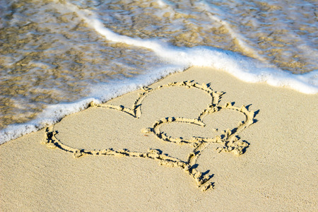 Two hearts in itself in the sand on the beach photo