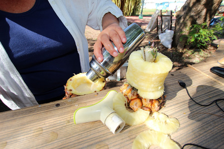 Woman spills Pinacolada from a shaker into a fresh pineapple photo