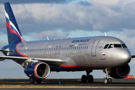 PRAGUE, CZECH REPUBLIC - JANUARY 12: Aeroflot - Russian Airlines Airbus A320-214 taxis to teminal at PRG Airport on January 12, 2014. Aeroflot is the flag carrier and largest airline of the Russian Federation.