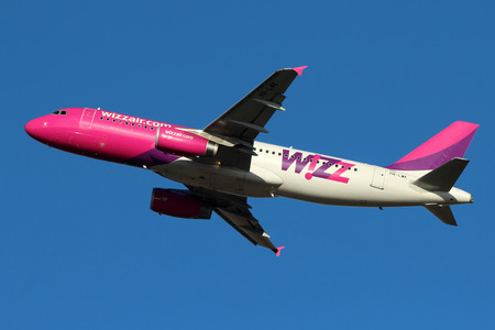 PRAGUE, CZECH REPUBLIC - JANUARY 12: Wizz Air Airbus Airbus A320-232 takes off from PRG Airport on January 12, 2014. Wizz Air is a Hungarian low-cost airline.
