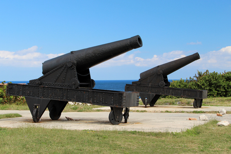 firepower: The cannon at the fortress of El Morro in Cuba Stock Photo