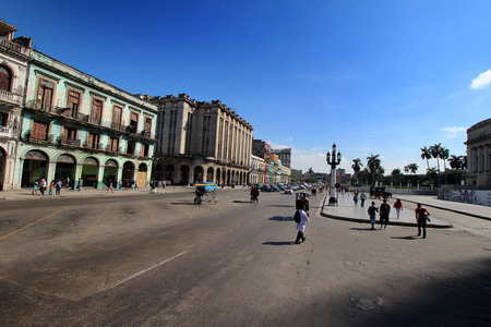 capitolio: HAVANA - FEBRUARY 10: Street in the old part of the city on February 10, 2014 in Havana. Havana is the largest city in the Caribbean.