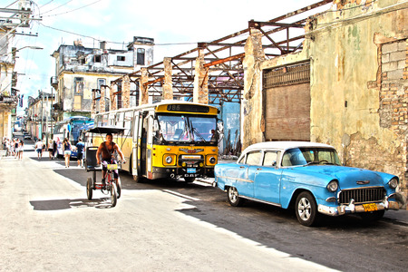 HAVANA, CUBA - FEBRUARY 10: Street in Havana Cuba on 10 February, 2014. Cuba has the biggest show of old cars still cruising the streets in various conditions.