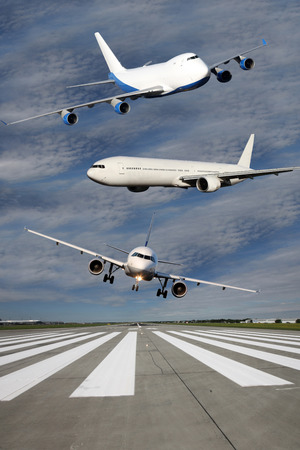 Photo montage of three airliners flying over runway