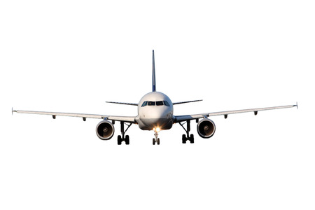 Smaller white airliner isolated on white background