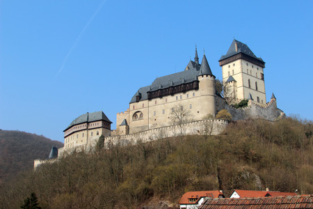 crenelation: Karlstejn Castle near Prague in the Czech Republic