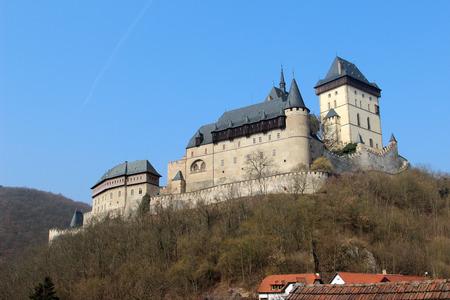 crenelation: Karlstejn Castle near Prague in the Czech Republic