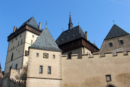 crown spire: Detailed view of the Karlstejn Castle near Prague in the Czech Republic