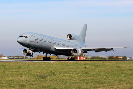 decommissioning: PRAGUE, CZECH REPUBLIC - OCTOBER 17: L-1011 Tristar RAF lands at PRG Airport on October 17, 2012 in Prague, Czech Republic. TriStar was an air-to-air tanker and transport aircraft in service with the Royal Air Force (RAF). Editorial