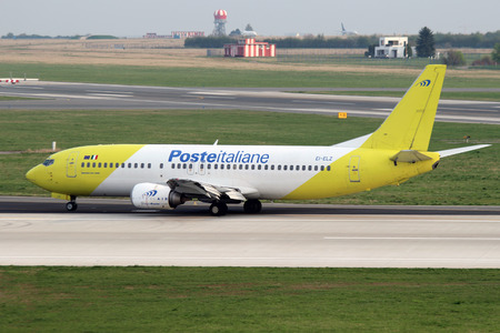 PRAGUE, CZECH REPUBLIC - APRIL 04: Poste Italiane (Mistral Air) Boeing 737-4Q8 lands at PRG Airport on April 04, 2014. Mistral Air is a cargo and charter passenger airline based in Rome, Italy Editorial