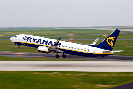 PRAGUE, CZECH REPUBLIC - APRIL 04: Ryanair Boeing 737-8AS takes off from PRG Airport on April 04, 2014. Ryanair is an Irish low-cost airline. Editorial