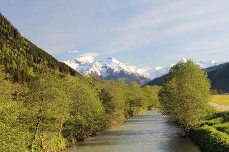 salzach: Salzach river flowing through the valley of the Austrian Alps