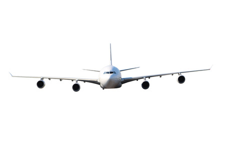 Large white four-engine airplane on a white background Standard-Bild