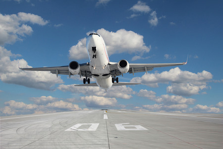 Impressive view of the aircraft taking off from runway