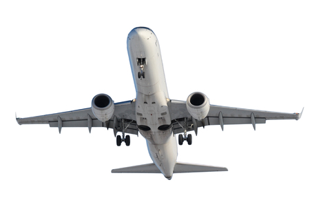 White plane with landing gear isolated on white background