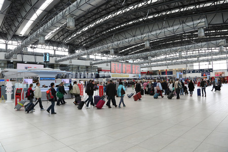 PRAGUE, CZECH REPUBLIC - MAY 07: Departures hall of Vaclav Havel Airport Prague on May 03,2015. Prague Airport is the operator of the most important international airport in the Czech Republic