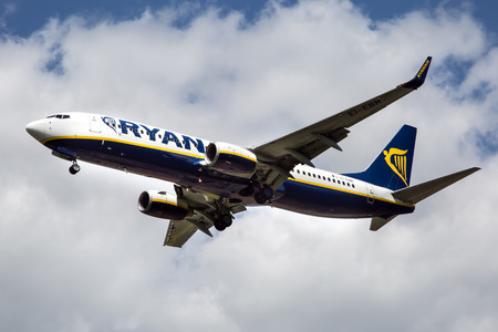 PRAGUE, CZECH REPUBLIC - MAY 07: Ryanair Boeing 737-8AS lands at PRG Airport on May 07,2015. Ryanair is an Irish low-cost airline. Editorial