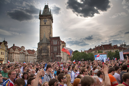 rival rivals rivalry season: PRAGUE, CZECH REPUBLIC - MAY 16: Czech fans cheering at the World Ice Hockey Championship 2015 in Pragues Old Town Square on May 16,2015. Editorial