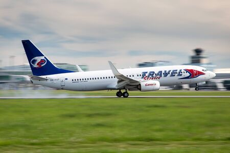 leases: PRAGUE, CZECH REPUBLIC - MAY 13: Travel Service Boeing 737-86N lands at PRG Airport on May 13, 2015. Travel Service  operates charter flights and also wet and dry leases aircraft to other airlines. Editorial