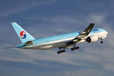 republic of korea: PRAGUE, CZECH REPUBLIC - MAY 13: Korean Air Boeing 777-2B5ER takes off from PRG Airport on May 13, 2015. Korean Air is the flag carrier airline of South Korea.