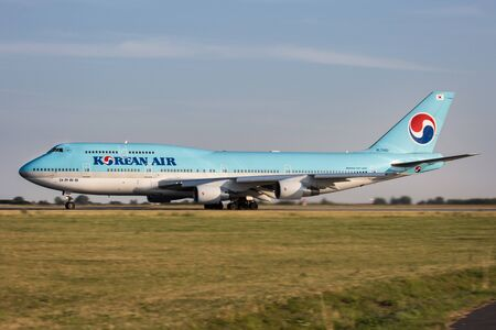 PRAGUE, CZECH REPUBLIC - JULY 31: Korean Air Boeing 747-4B5 lands at PRG Airport on July 31, 2015. Korean Air  is the largest airline in South Korea.