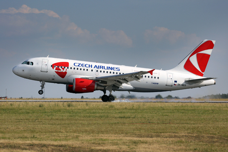 PRAGUE, CZECH REPUBLIC - JULY 31: CSA - Czech Airlines Airbus A319-112 lands at PRG Airport on July 31, 2015. CSA is the national airline of the Czech Republic.