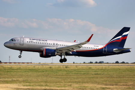 PRAGUE, CZECH REPUBLIC - JULY 31: Aeroflot - Russian Airlines Airbus A320-214  lands at PRG Airport on July 31, 2015. Aeroflot is the flag carrier and largest airline of the Russian Federation.