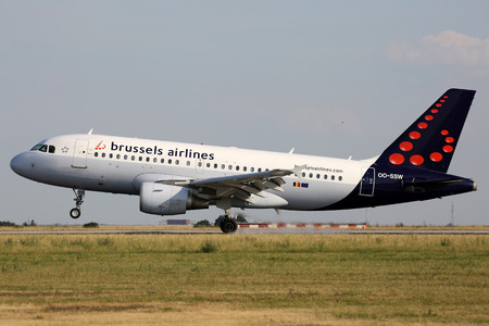 PRAGUE, CZECH REPUBLIC - JULY 31: Brussels Airlines Airbus A319-111 lands at PRG Airport on July 31, 2015. Brussels Airlines is the flag carrier and largest airline of Belgium. Editorial