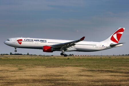 PRAGUE, CZECH REPUBLIC - JULY 31: CSA - Czech Airlines Airbus A330-323 lands at PRG Airport on July 31, 2015. CSA is the national airline of the Czech Republic.