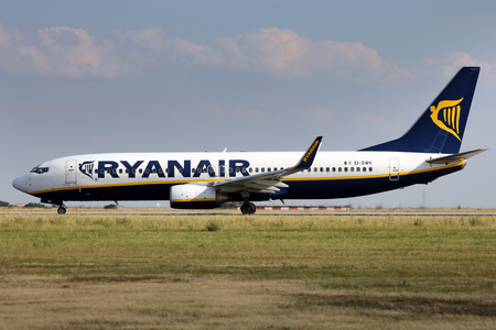 PRAGUE, CZECH REPUBLIC - JULY 31: Ryanair Boeing 737-8AS lands at PRG Airport on July 31, 2015. Ryanair is an Irish low-cost airline. Editorial