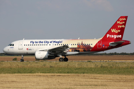 PRAGUE, CZECH REPUBLIC - JULY 31: CSA - Czech Airlines Airbus A319-112 in special livery lands at PRG Airport on July 31, 2015. CSA is the national airline of the Czech Republic. Editorial