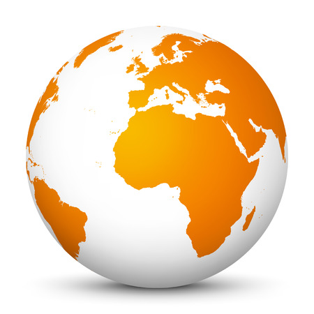 logistics world: World Globe icon Fresh orange color with smooth shadows.