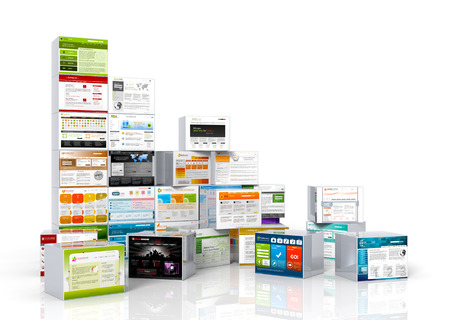 selection box: Modern web design templates mapped on aluminum boxes. Stacked and Arranged.