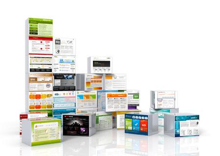 Modernos web plantillas de diseño asignadas en cajas de aluminio. Apiladas y dispuestas. Foto de archivo - 41677220