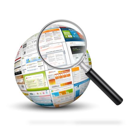 Sphère avec le web design empreintes de modèle et loupe. Rechercher SEO du moteur et des modèles de conception pour votre web marketing de la conception.