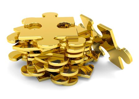 Golden puzzle pieces stacked. 3D metallic JigSaw. Stock Photo