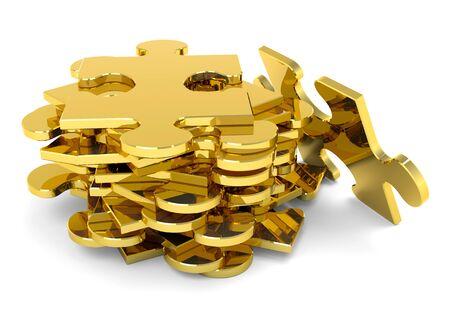 piezas de puzzle: Piezas del rompecabezas de oro apilados. JigSaw metálico 3D.
