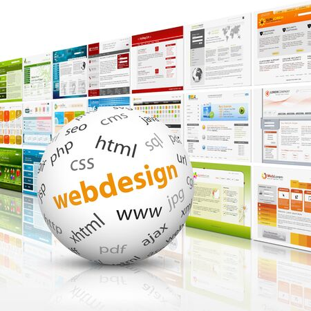 White Sphere with web design textimprint in front of a wall template. HTML CSS PHP SEO.